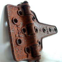 BARN DOOR SALVAGE Antique Rusty Large & Heavy Old Cast Iron Farm Hinge pulled from a Rural Indiana Wood Barn Vintage1900
