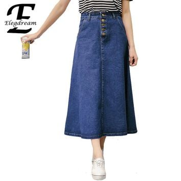 Maxi Falda Long Denim Skirt Vintage High Waist A Line Blue Jeans Skirts Longue Jupe Women 2017 New Summer Style Femme Trousers - Beauty Ticks