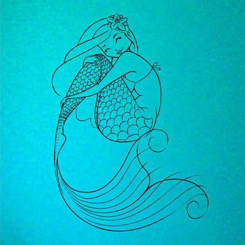 Mermaid Love yourself your a Mermaid  Vinyl Wall Decal Sticker Art Decor Bedroom Design Mural interior design beach ocean hawaii girl