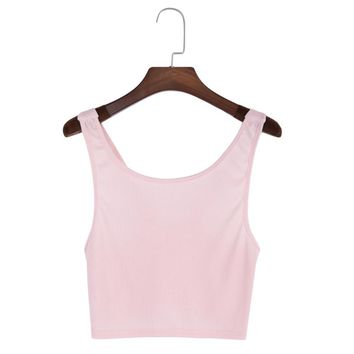 Sexy Scoop Collar Pure Color Backless Rib Knit Crop Top for Women