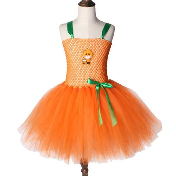 Orange Pumpkin Tutu Dress Cute Girl Kids Halloween Party Costumes Handmade Inspired Tutu Dresses for Girls Fancy Clothes 2-12Y