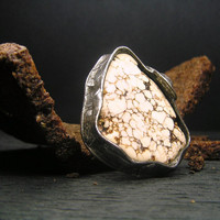 Jewelry by AMW - Statement Ring - Cocktail Ring - Natural Raw Stone Huge Ivory Howlite Ring