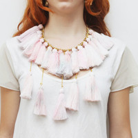 MARSHMELOW/ Pastel tassel necklace-Ready to Ship -OOAK