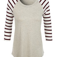 Loose Round Neck Striped Raglan Sleeve Baseball T Shirt (CLEARANCE) (CLEARANCE)