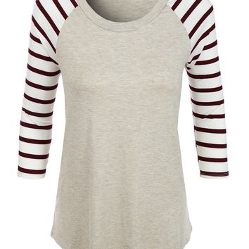 Loose Round Neck Striped Raglan Sleeve Baseball T Shirt (CLEARANCE)