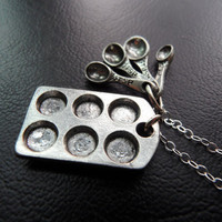 Cupcake Baking Necklace in Sterling Silver Chain by CeciliaJewelry
