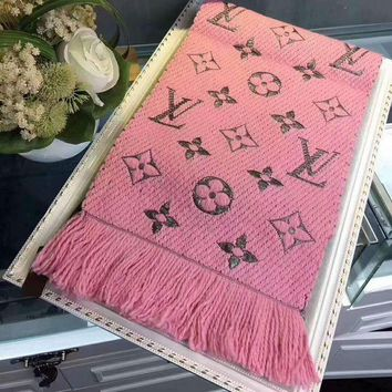 DCCKB62 LV Louis vuitton gold silk women trend exquisite knitting wool scarf shawl special cabinet F-XLL-WJ pink