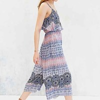 Ecote Double-Layer Wide-Leg Gaucho Jumpsuit- Blue Multi