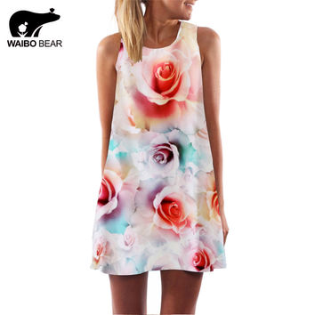 New Women 2016 Rose Printed O-Neck Mini Club Elegant Floral Dress Evening Party Sleeveless Chiffon Casual Dresses WAIBO BEAR