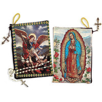 Saint Michael and Guadalupe rosary pouch