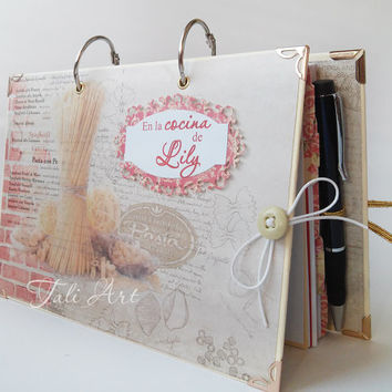 Personalized Recipe Book with Pen, Cooking Book, Kitchen book, Recipe organizer