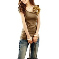 Allegra K Women Palstic Pearl Decor Ruched Sleeve Summer Top Casual T Shirts