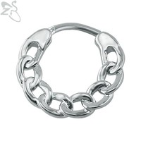 ac spbest ZS Septum Clicker 16g Stainless Steel Body Jewelry Real Septum Ring Indian Nose Ring Silver Nose Clicker Piercing Nez Indien