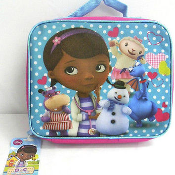Walt Disney Doc McStuffins with Friends Pink Blue Insulated Lunch Bag Box-New!