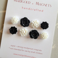 set of 8 magnets black and white flowers by MarigoldHome on Etsy