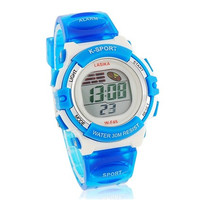 Round Dial Waterproof Digital Electronic Watch with Plastic Strap (Blue)