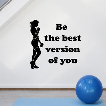Vinyl Wall Decal Fitness Girl Gym Woman Quote Motivational Inspire Art Stickers Mural (ig5258)