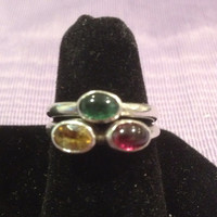 Amethyst Citrine Peridot Sterling Rings Stackable SIZE 6 Silver 925 Purple Yellow Green Stones Vintage Southwestern Jewelry Gift