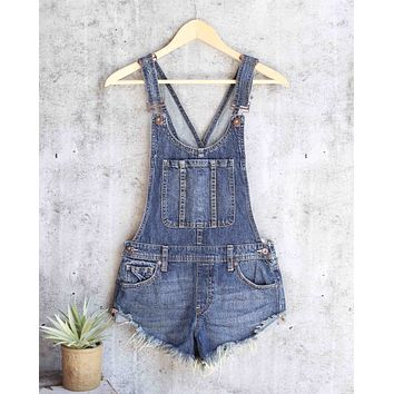 free people - summer babe hi/lo distressed denim short overalls - medium wash blue