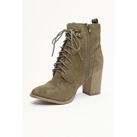 The Next Step Lace Up Booties (Khaki)