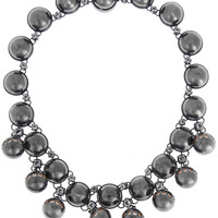 Bottega Veneta - Oxidized sterling silver cubic zirconia necklace