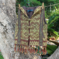 Boys Hoodie Tribal Vest In Hand Loomed Ikat With Fringe