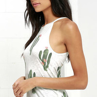 Brokedown Cactus Cream Print Tank Top