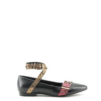 Made In Italia Black Ankle Strap Flats