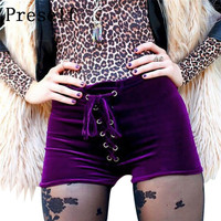 Preself New Sexy Women Shorts Velvet High Waist Drawstring Lace Up Bodycon Club Punk Hot Summer Casual Purple Orange Black Color