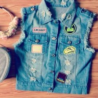 Biker Girl - Cute (Blue Jean) Denim Vest with Patches - Size: 6/8 Small/Medium - Smoky Mountain Boutique