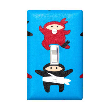 Ninja Light Switch Plate Cover / Boys Kids Play Room / Baby Boy Nursery Decor / Blue and Red