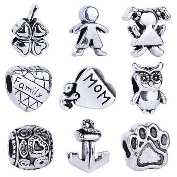ICIK272 1pc  Silver Bead Charm European Love Heart Clover Owl Boy Dog Paw Family Fashion Bead Fit Pandora Bracelet Necklace