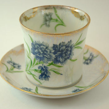 Vintage Porcelain Lusterware Cup and Saucer, Blue Chrysanthemums and Gold Trim