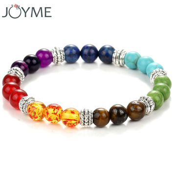 Colorful beaded chakra bracelet men with natural lava stone amber beads black and brown hologram women men jewelry
