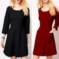 Women Elegant 3/4 Sleeve Crew Neck Big Pocket Mini Dress Concealed Zipper Solid
