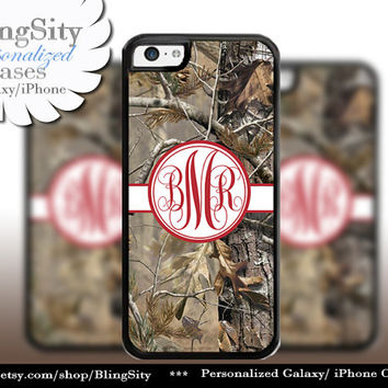 Camo Red Monogram iPhone 5C 6 Plus Case iPhone 5s 4 case Ipod Realtree Cover Personalized real tree camo Country Inspired Girl