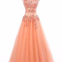 Coral Appliques See Through Corset Strapless Long Evening Dress 2016 New Arrival Formal Dresses Party Gowns Vestido De Festa