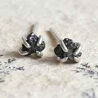 Rough Black Diamond and Sterling Silver Stud Earrings - Raw Diamond Earrings - Tiny Stud Earrings - Minimalist Earrings - Natural Diamonds