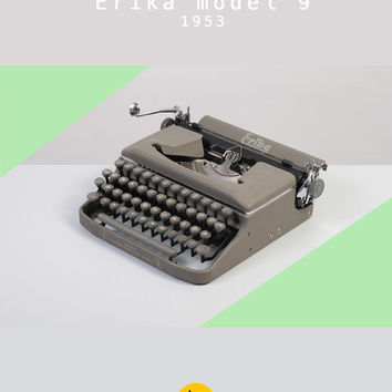 RESERVED /// 1953 Erika model 9 Typewriter. Restored and fully functional. East Germany. Gray. Portable.