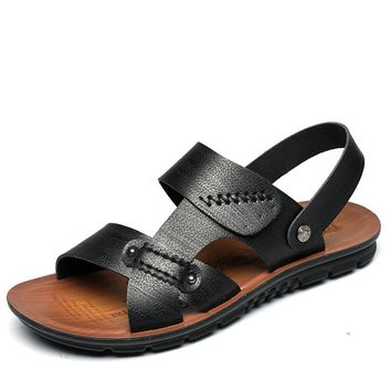 New Arrival Leather Casual Sandals Large Size 45 46 47 Summer Beach Sandals Men Shoes Mens Flats Cowhide Slippers