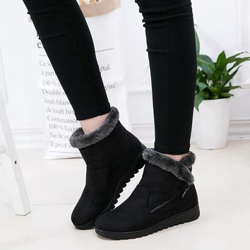 Women Ankle Boots New Fashion Waterproof Wedge Platform Winter Warm Snow Boots Shoes For Female Warm Plush Shoes Female