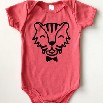 3-24 Mos. Cheerful Creatures Collection | Organic Cotton Kids One-Piece | Color: POMEGRANATE | Choose Your Animal