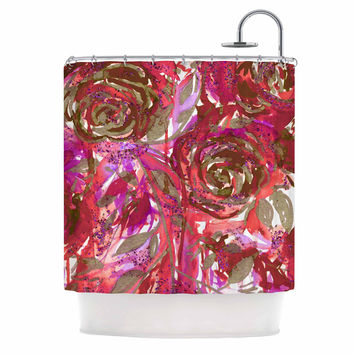 "Ebi Emporium ""Rose Combustion - Coral Red"" Maroon Floral Shower Curtain"