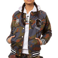 The Double Barrel Varsity Jacket in Indigo Camo
