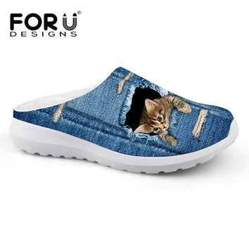 Cute Jeans Black Cat Style Women Summer Athletic Shoe Slip Ons