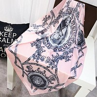 VERSACE Trending Woman Stylish Silk Cape Scarf Scarves Shawl Accessories Pink