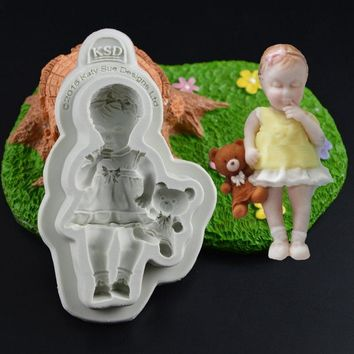 3D Baby Boy Rabbit Baby Girl Bear Silicone Cake Fondant Mold Chocolate Cake Mold Baking Tool Mold