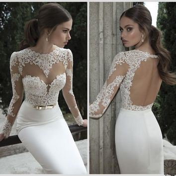 2017 New Bridal Mermaid Wedding Dresses Jewel Neck Poet Long Sleeve Illusion Sheer Appliques Lace Backless Back Formal Gown