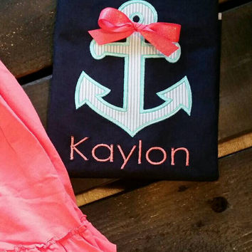Girls anchor appliqué shirt-summer anchor shirt-girls beach outfit-monogram name free-affordable boutique beach girls-preppy seersucker