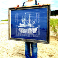 Old Ship Diagram Screen Printed by IScreenYouScreen